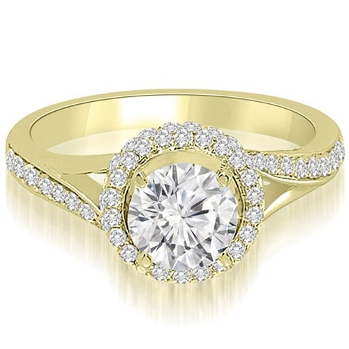 1.00 cttw. 14K Yellow Gold Double Halo Round Cut Diamond Engagement Ring