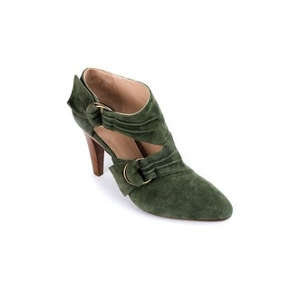 Roberto Cavalli Womens Green Suede Buckle Strap Ankle Boots