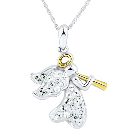 Angel Pendant with Crystals in 14K Gold-Plated Sterling Silver - White