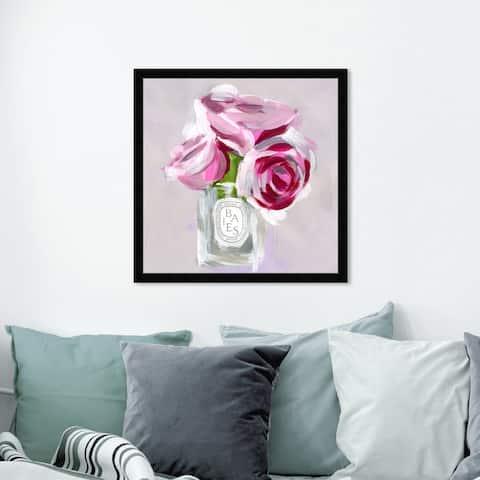 Oliver Gal 'Rose Candle' Floral and Botanical Wall Art Framed Print Florals - Pink, White