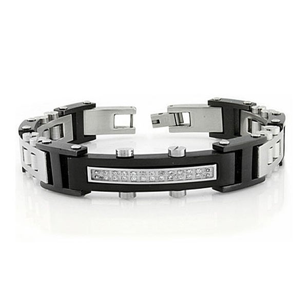 Stainless Steel Two Tone Bracelet w/ CZ - 8.5 inches