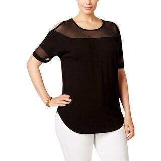 MICHAEL Michael Kors Womens Plus Pullover Top Mesh Inset Open Shoulder