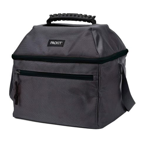 PackIt Freezable Canvas Utility Cooler Bag with Handle, 18 Can Capacity, Charcoal Grey