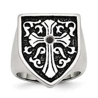Stainless Steel Cross with Black Diamond Antiqued Shield Ring (8 mm)