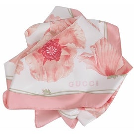 New Gucci Women's 303940 Pink Poppy Floral Silk Twill Neck Scarf