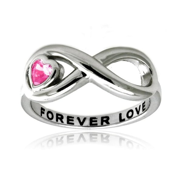 Sterling Silver Infinity Forever Love Ring w/ Pink Heart CZ