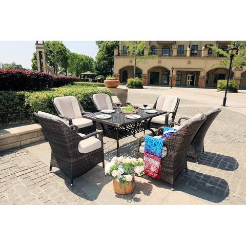 Moda 7-Piece Alum Casting Outdoor Patio Dining Set Rattan Chairs