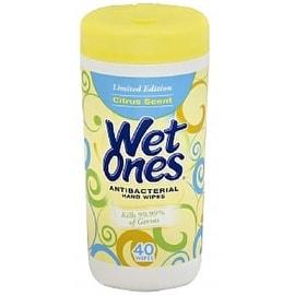 WET ONES Antibacterial Hands Wipes, Citrus 40 ea