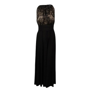 R&M Richards Women's Sequined Lace Keyhole Jersey Gown - black/taupe