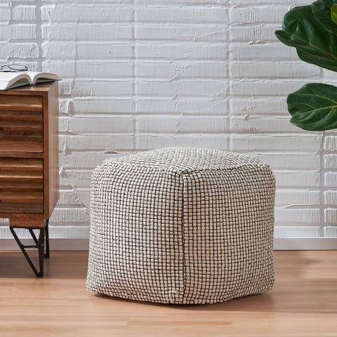 Bancker Boho Fabric Cube Pouf by Christopher Knight Home