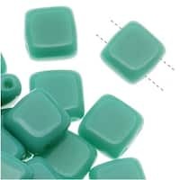 CzechMates Glass 2-Hole Square Tile Beads 6mm 'Persian Turquoise' (1 Strand)
