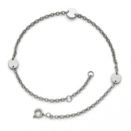 Chisel Stainless Steel Polished Round Charms Anklet (1 mm) - 9 in
