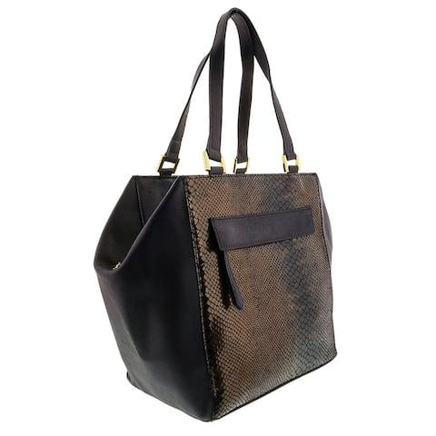 HS5162 BLU DORYA Leather Shopper/Tote Bag