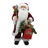 "24"" Standing Santa Claus Figure with ""Merry Christmas"" Gift Bag - RED"