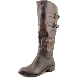 Style & Co Masen Riding Boot Women Round Toe Synthetic Brown Knee High Boot