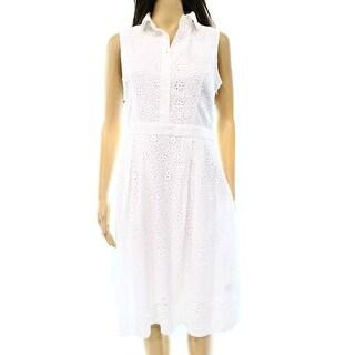 Lauren By Ralph Lauren NEW White Women's Size 0 Eyelet Collar Dress