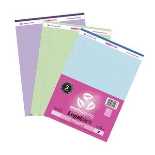 Roaring Spring Enviroshades Legal Recycled Legal Pad, 8-1/2 X 11 in, 40 Sheets, Assorted Color, Pack of 3