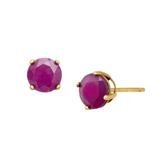 1 1/3 ct Natural Ruby Stud Earrings in 18K Gold-Plated Sterling Silver