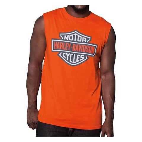 1f4af3e9 Harley-Davidson Men's Bright Bar & Shield Sleeveless Muscle Tank - Orange