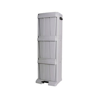 "Richell 3 Bin Storage Tower Gray 16.7"" x 12.75"" x 50.2"""