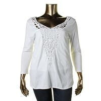 Lauren Ralph Lauren Womens Tunic Top Crochet Front 3/4 Sleeves