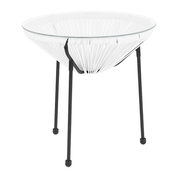 Offex Valencia Oval Comfort Series Take Ten White Rattan Table with Glass Top