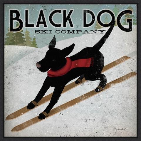 Black Dog Ski Co (square) by Ryan Fowler Framed Canvas Art