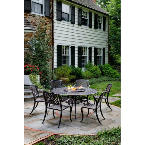"""Westbury Duo Cast Aluminum 7 Piece Dining Set with 60"""" Round table and 6 Dining Chairs"""