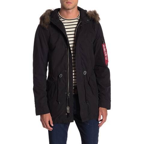 Alpha Industries Faux Fur Trim Hooded Anorak, Black, XX-Large