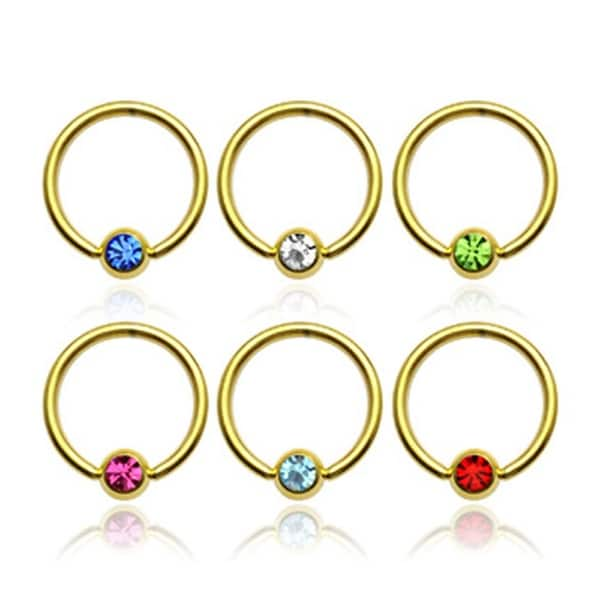 "{Clear} gold-plated 316L Steel Rings W/ Press Fit Gem Set Ball - 14Ga 1/2"" Long - Clear (Sold I"