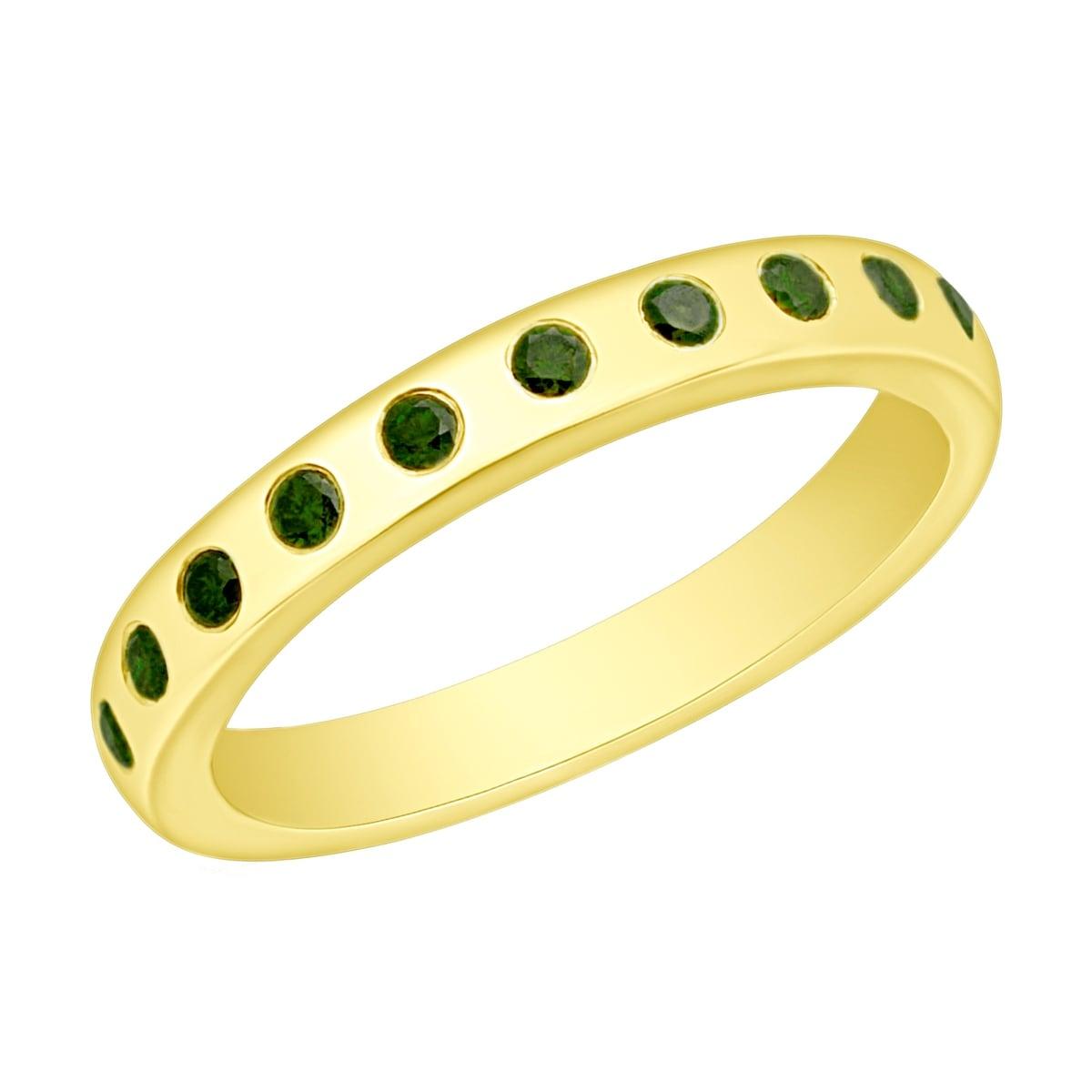 Prism Jewel 0.25CT Flush Set Round Cut Green Diamond Wedding Band - Thumbnail 0