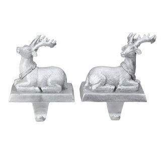 "Link to Set of 2 Silver Reindeer Christmas Stocking Holders 6.5"" - N/A Similar Items in Christmas Decorations"