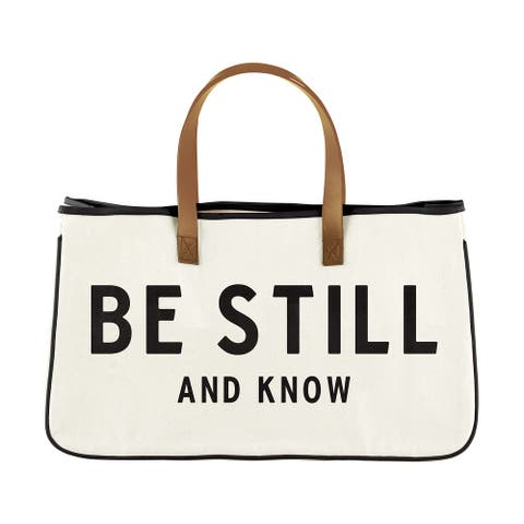 """20"""" Black, White And Brown """"Be Still And Know"""" Text Inscribed Tote Bag"""