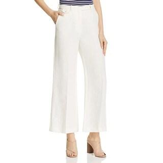 Theory Womens Dress Pants Linen Flare Leg