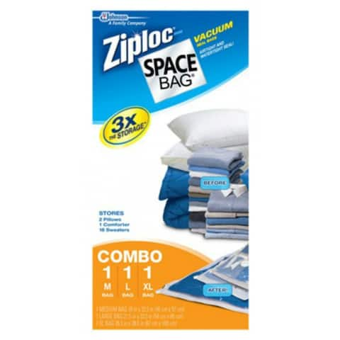 Ziploc 70424 Vacuum Seal Storage Bag Combination Pack, 3-Piece