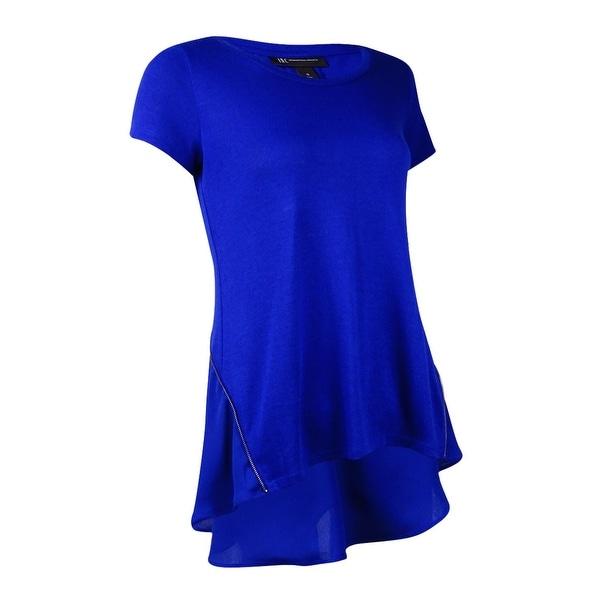 INC International Concepts Women's Zipper Embellished Top (S, Goddess Blue) - goddess blue