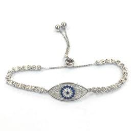 925 Sterling Silver Adjustable Eye Tennis Bracelet With Blue Cubic Zirconia