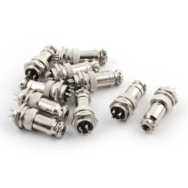 Metal 16mm GX16 4 Pin Aviation Plug Socket Connector 48mm Long 10pcs
