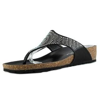 Italian Shoe Makers Lille Women  Open Toe Leather Black Slides Sandal