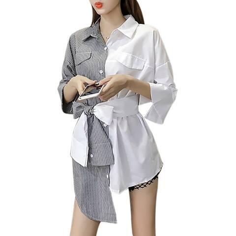 QZUnique Women's Summer Blouse Lapel Collar Button Closure Irregular Design Stripes Shirt with Bowknot Belt