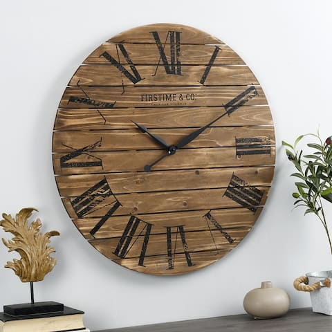 FirsTime & Co.® Farmhouse Shiplap Wall Clock, American Crafted, White, Wood, 29 x 2 x 29 in