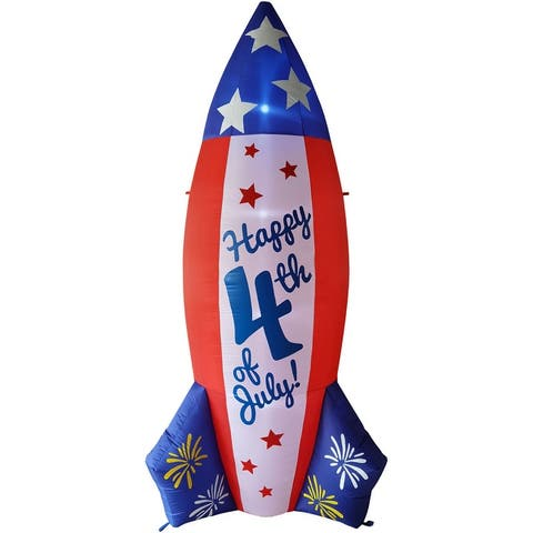 Fraser Hill Farm 10-Ft. Tall Americana July 4th Rocket, Outdoor Blow Up Inflatable with Lights