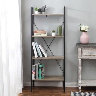 Carbon Loft Ogzewalla Wood and Metal Ladder Shelf 4-tier Etagere