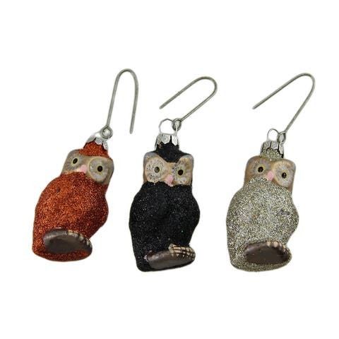 3 Pc. Bethany Lowe Glitter Owl Glass Ornament Set - 2 X 1 X 0.5 inches
