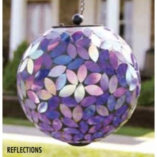 "8"" Purple Reflections Leaf Glass Mosaic LED Solar Powered Hanging Orb Garden Light"