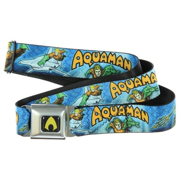 DC Comics Seatbelt Belt - Aquaman Comic Riding Hammerhead Shark-Holds Pants Up