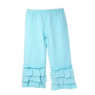 Girls Light Blue Triple Tier Ruffle Cuffed Cotton Spandex Pants 12M-6