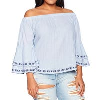 Lucky Brand Blue Womens Size 3X Plus Embroidered Off-Shoulder Blouse
