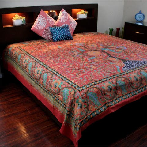 Tree of Life Tapestry Wall Hanging Cotton Tablecloth Bedspread Beach Sheet Full 88x104 Red