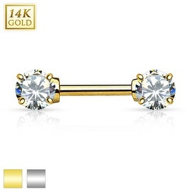 Double Prong Set AAA CZ 14K Gold Nipple Bar (Sold Individually)